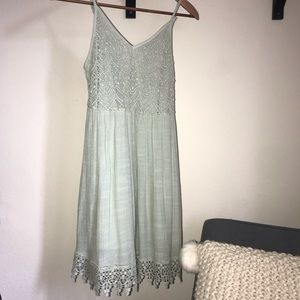 Flowy Crochet Pistachio Green Dress